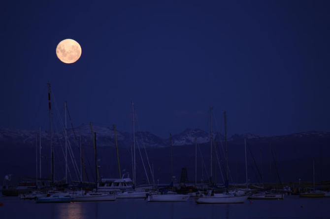 Argentina: Moonrise over the Beagle Channel