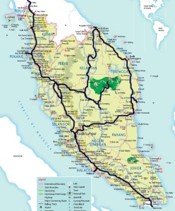 Malaysia: travel route over 10 weeks