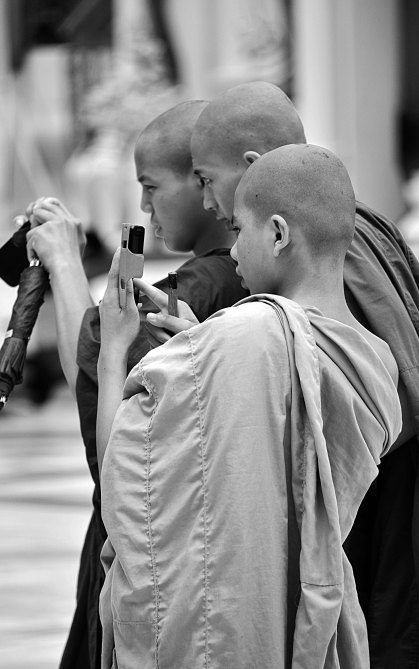 Shwedagon Paya, Burma, Myanmar, monks