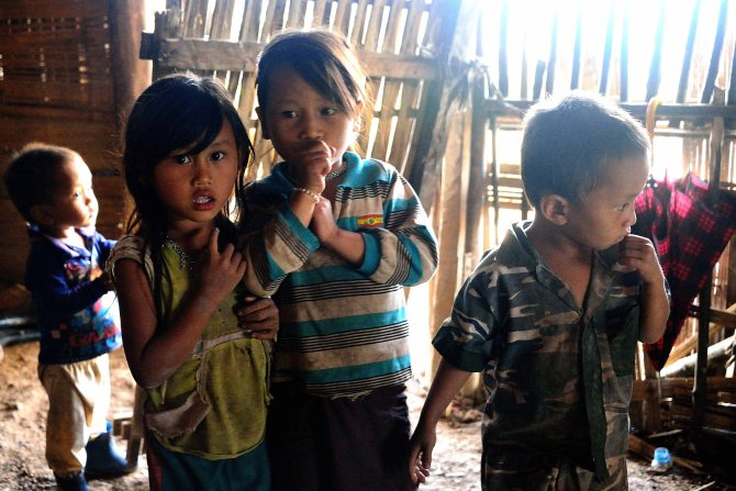 Lahu Village, Laos, trekking, children