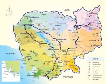 Cambodia map, SE Asia