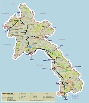 Laos map, 2 month travel, border crossings