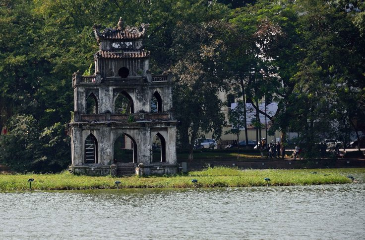Hanoi, Vietnam, tower, lake