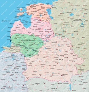 Lithuania: travel route during 18 days
