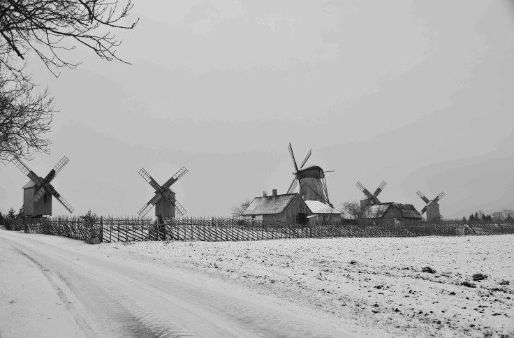 Angla windmills, Saaremaa Island, Estonia, The Baltics, Europe