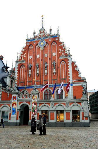 Latvia, Riga, architecture, clock