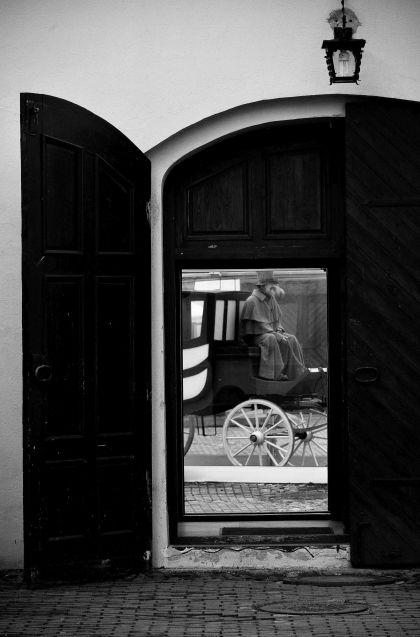 Old Town Kaunas: horse and cart, Lithuania, Baltic States, Europe