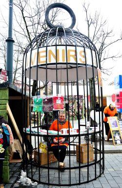 Vilnius, Kaziukas Fair girl in cage, lithuania