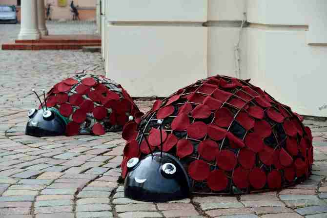 Kaunas:Lady Beetle street sculpture, Lithuania