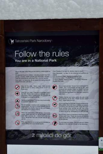 trekking signs, snow, zakopane, poland, europe