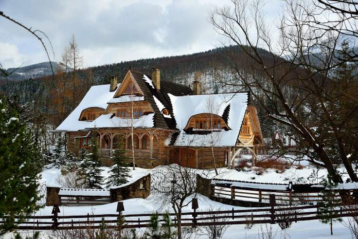 timber homes, zakopane, poland, europe
