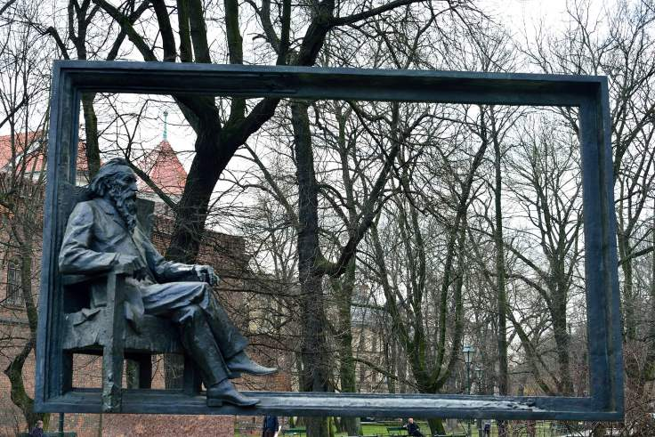 poland, krakow, sculpture, old town