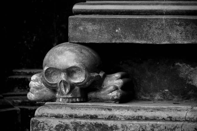 krakow, poland, church, B&W, skull and bones