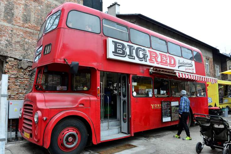 Big Red food bus, poland, krakow