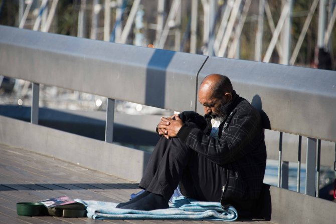 Spain, Barcelona, beggar