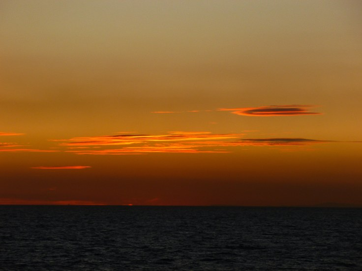 Mediterranean, ferry, sunset