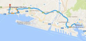 Genoa to Campeggio Villa Doria