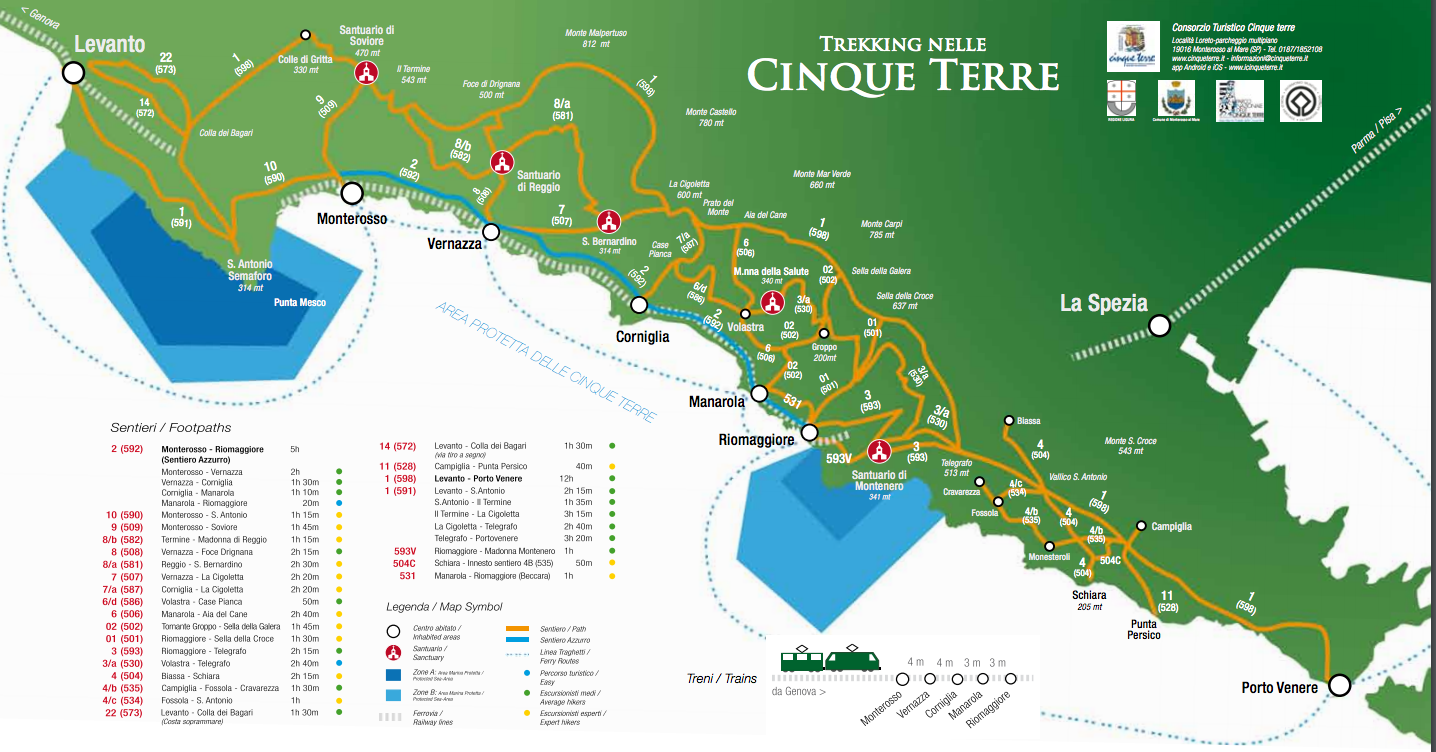 cinque terre trails motorhome camping italy official trekking map. italy's spectacular cinque terre what's not to love  image
