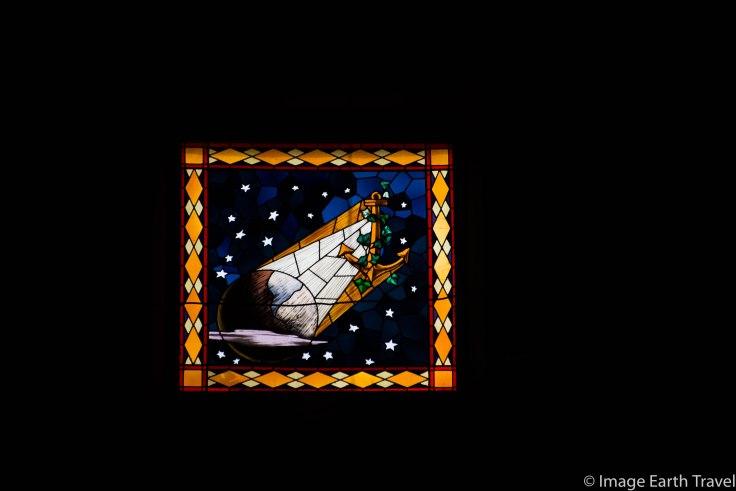 stained glass, Deiva Marina, Italy, motorhome, camping