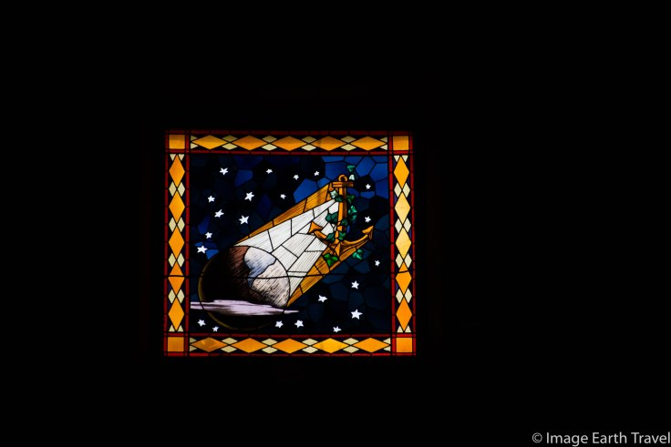 stained glass, Deiva Marina, Italy, motorhome, camping