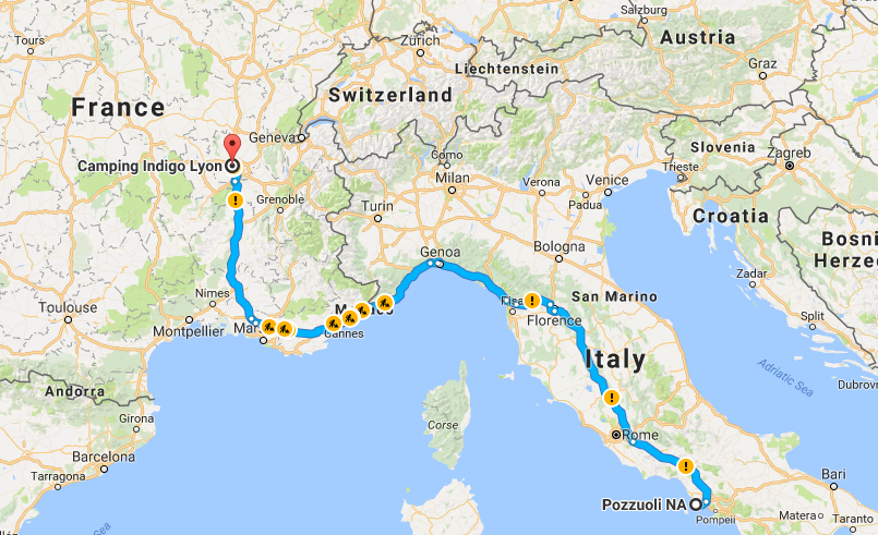 Driving Map Of Italy.Driving From Italy To The Uk Part 1 Image Earth Travel
