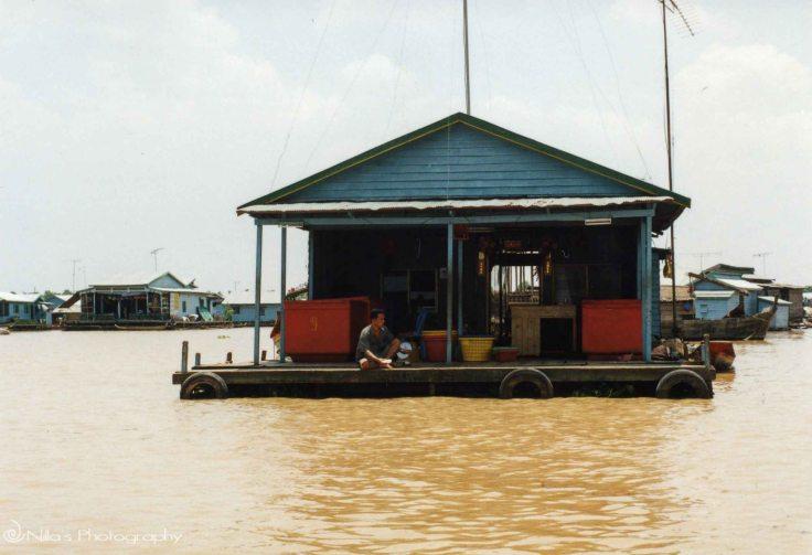 Cambodia, river, house boat