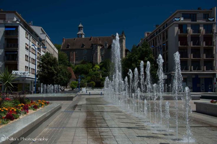 Montlucon, France, fountains