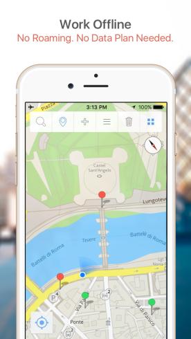 GPSmyCity, offline, map
