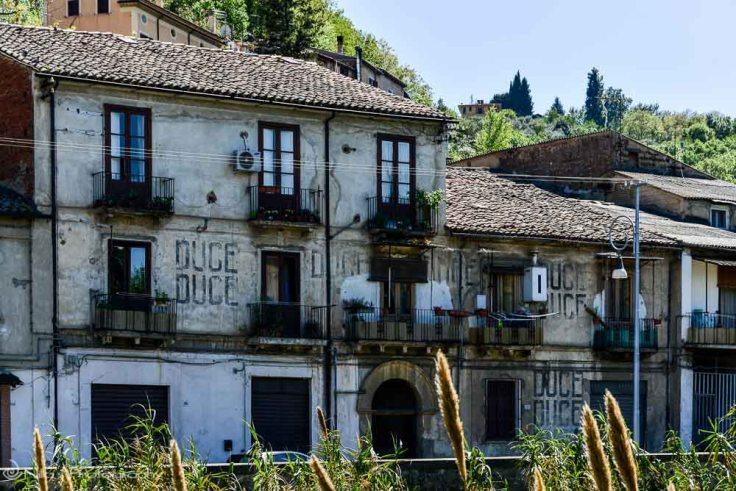 DUCE stencil, Fascist, Cosenza, Calabria, Italy