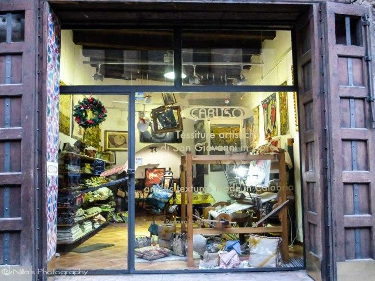 Textile shop, Old Town, Cosenza, Calabria, Italy, Europe