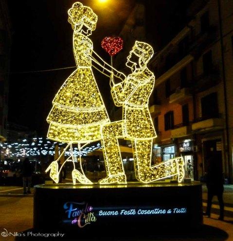Christmas lights, Cosenza, Calabria, Italy