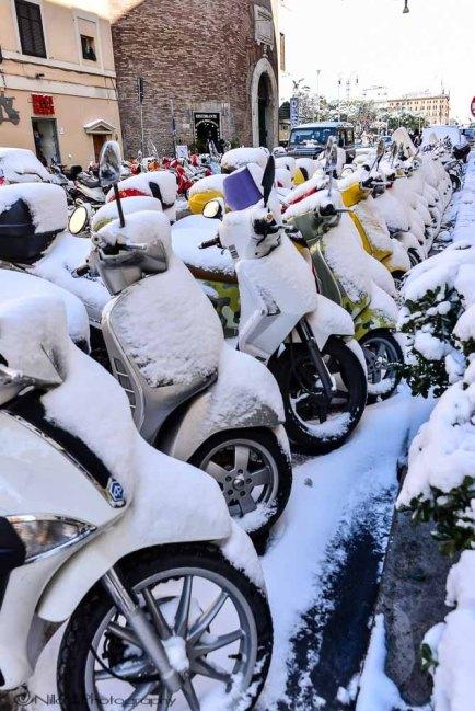 Rome, snow, Italy, bikes