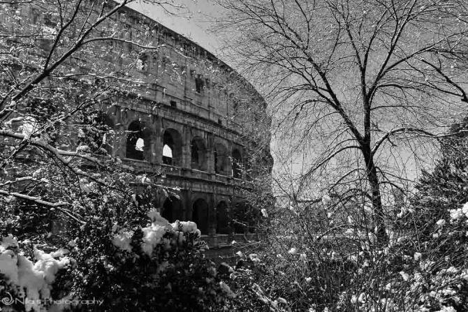 Colosseum, Rome, Italy, snow