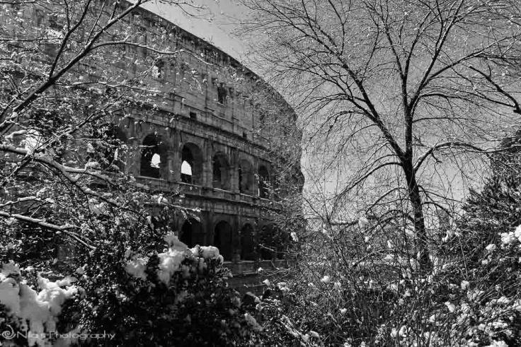 Colosseum, Rome, Italy, snow, Europe