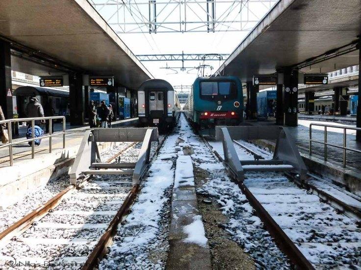 Rome Termini, snow, Italy