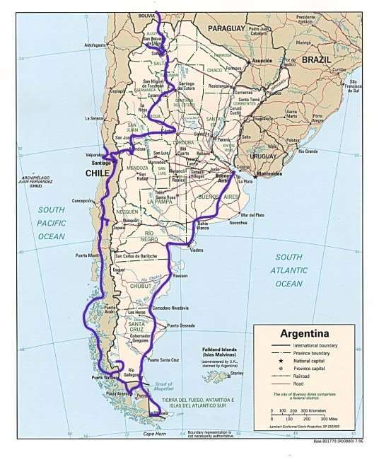 Argentina, Chile, South America travel route