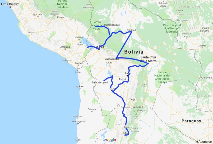 Bolivia travel route, South America