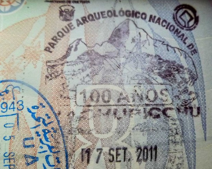 passport stamp, Machu Picchu, Salkantay, Peru, South America, trekking