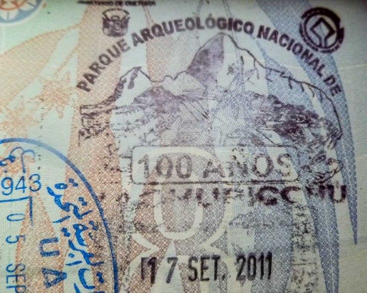 passport stamp, Machu Picchu, Salkantay, Peru, South America, trekking
