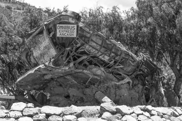 Crushed bus, Yungay, Huaraz, Peru, South America