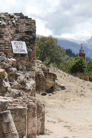 Cathedral ruins, Yungay, Huaraz, Peru, South America