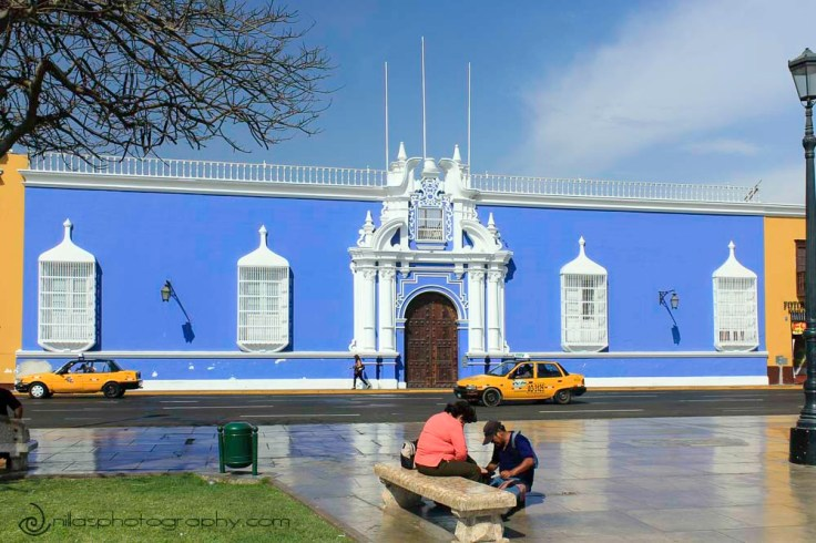 Plaza de Armas, Colonial buildings, Trujillo, Peru, South America