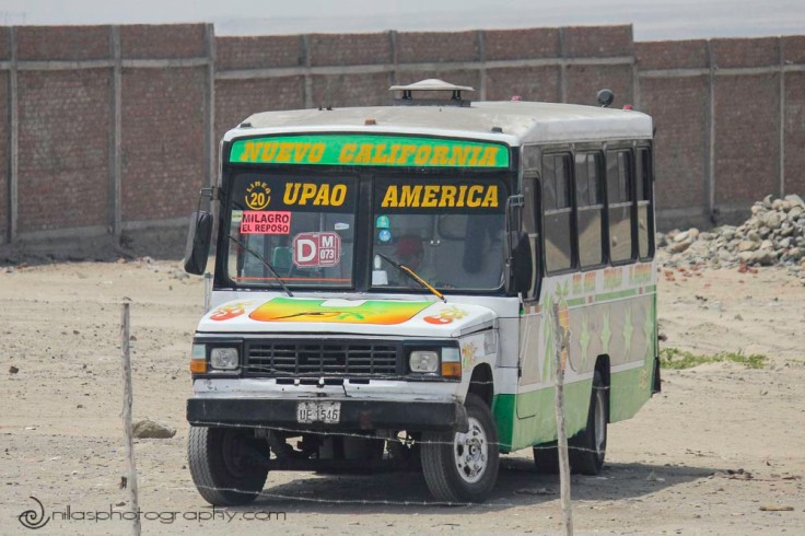Combi bus, Sun and Moon Temples, Trujillo, Peru, South America
