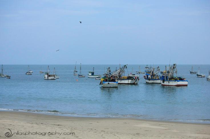 Fishing boats, Pacific Ocean, Los Organos, Peru, South America