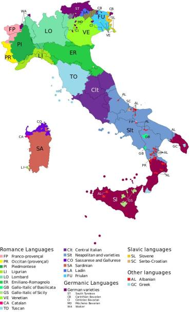 Italy language map
