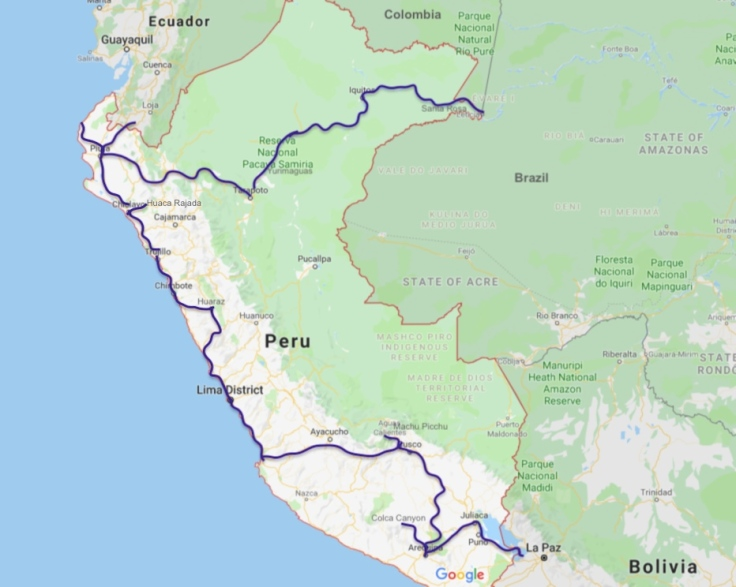 Peru travel route, South America