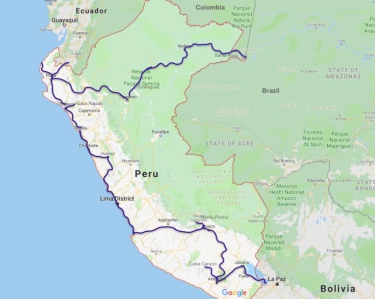 Peru travel route, South America