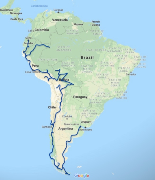 South America 9-month travel route