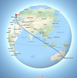 flight, Sydney, Australia, Rome, Italy