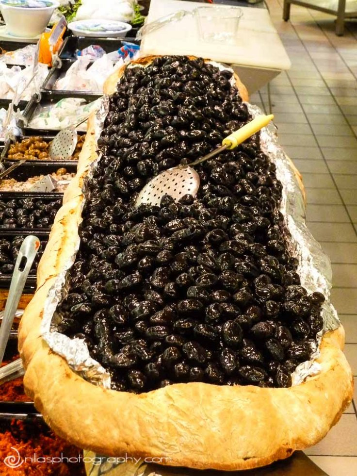 Olives in bread, Cosenza, Calabria, Italy, Europe